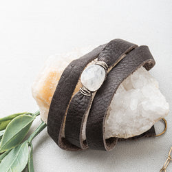 Triple-Wrap Moonstone and Chocolate Leather Bracelet