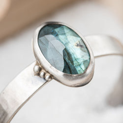 Labradorite Oval & Sterling Silver Adjustable Cuff
