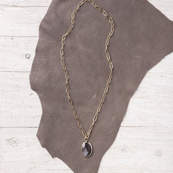 Chocolate Sapphire Necklace on 14k gold filled chain