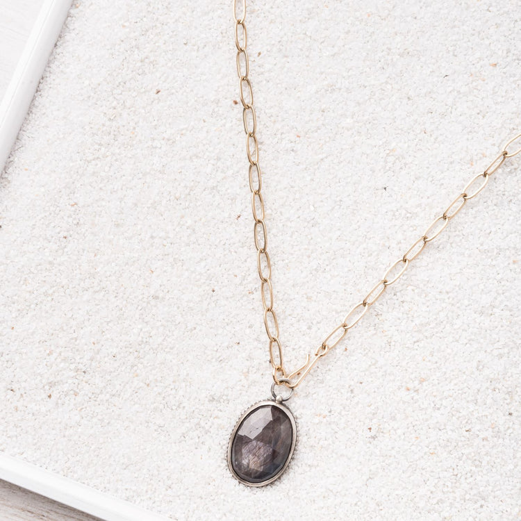 Chocolate Sapphire Necklace on 14k gold filled Paperclip Chain