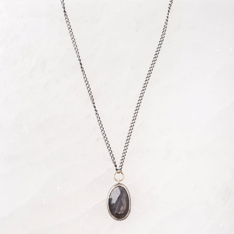 Chocolate Sapphire Necklace on Sterling Silver Curb Chain