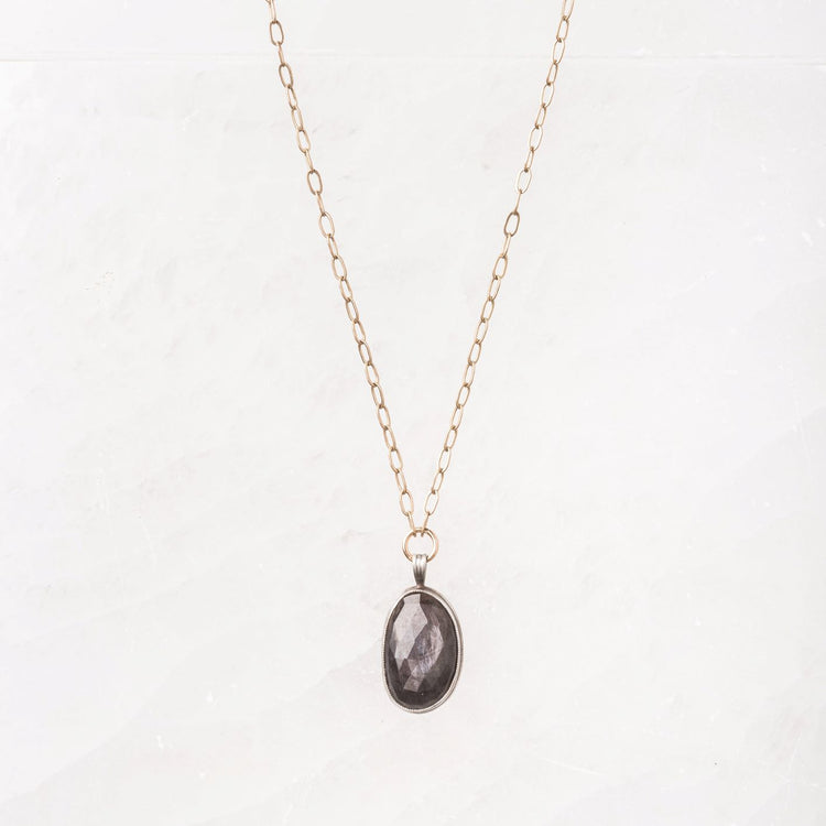 Chocolate Sapphire Necklace on Delicate 14k gold filled chain