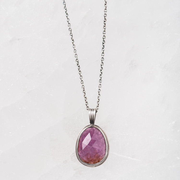 Rose Cut Pink Sapphire Necklace on Delicate Sterling Silver Chain