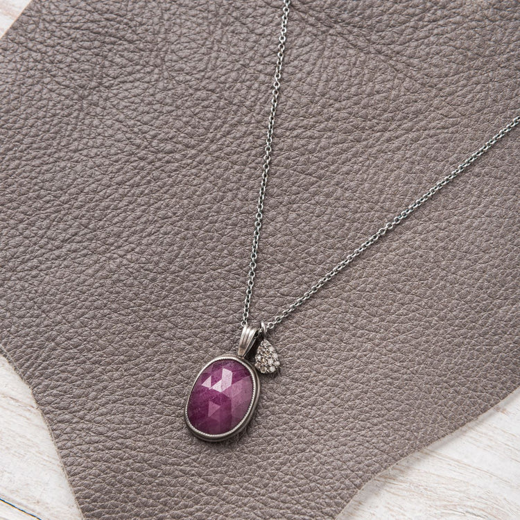 Pink Sapphire Necklace with Diamond Charm Accent