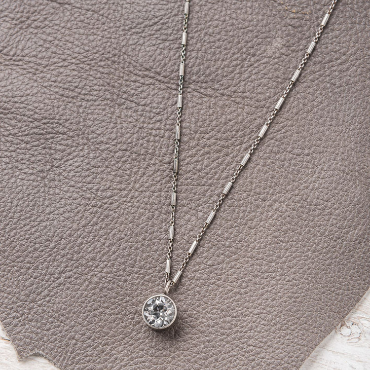 Starry Night White Topaz Drop Necklace