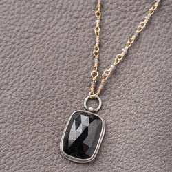Faceted Rectangle Chocolate Sapphire Pendant Necklace on Grey Moonstone Chain