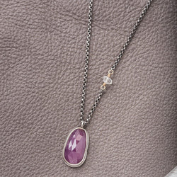 Pink Sapphire Necklace on Delicate Silver Rolo Chain
