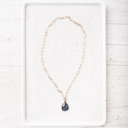 Rose Cut Labradorite Drop Necklace on 14k Gold Filled Paperclip Chain