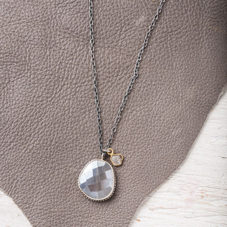 Grey Moonstone Necklace with Raw Grey Diamond Accent