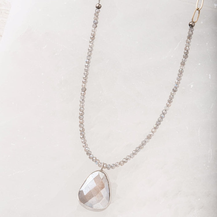 Grey Moonstone and Faceted Labradorite Necklace