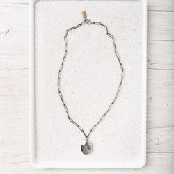 Grey Moonstone Necklace on Sterling Silver Paperclip Chain