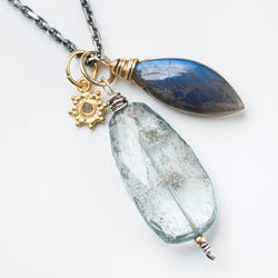 Moss Aquamarine Nugget and Gemstone Necklace Series: 2 of 5