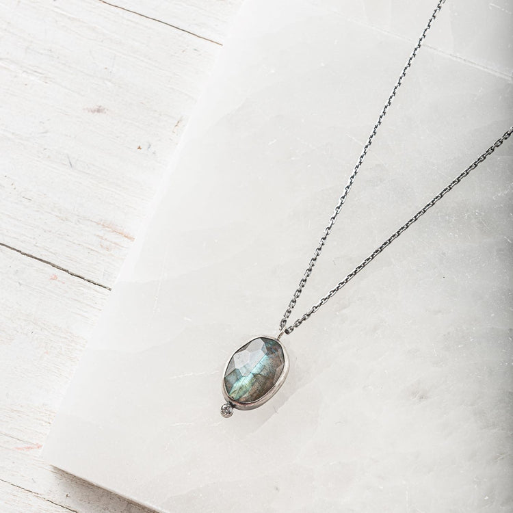 Labradorite Oval Pendant Necklace with Topaz Accent
