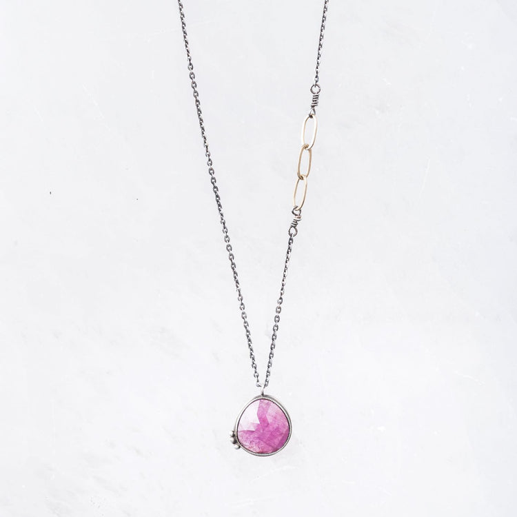 Pink Sapphire Pendant Necklace with Mixed Metal Accents