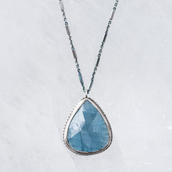One-of-a-kind aquamarine drop necklace