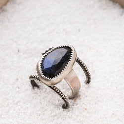 Organic Labradorite Stacking Ring Set in Sterling Silver