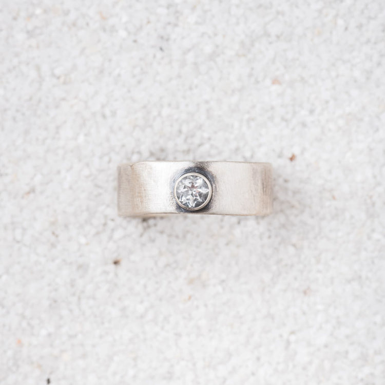 Starry Night White Topaz and Sterling Silver Ring