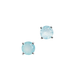 Gemstone Round Basket-Set Stud Earrings in Silver