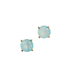 Gemstone Round Basket-Set Stud Earrings in Gold