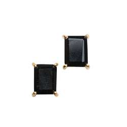 Gemstone Emerald Cut Prong Set Stud Earrings in Gold