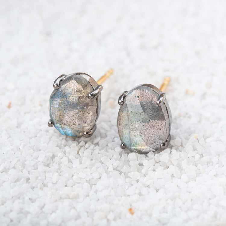 Gemstone Post Earrings in Labradorite, Black Spinel and Rainbow Moonstone