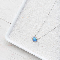Ethiopian Opal and Diamond Necklace on Sterling Silver Chain