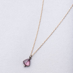 Pink Sapphire and Diamond Drop Necklace on 14k Gold Filled Chain