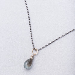 Moss Aquamarine Drop on Sterling Silver Ball Chain