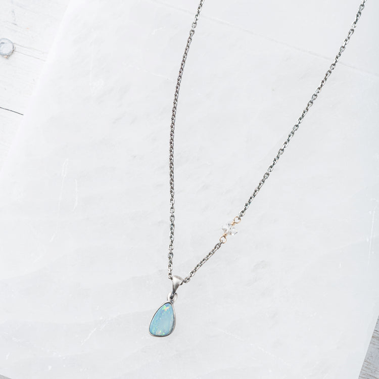 Australian Opal on Sterling Silver Chain with Herkimer Diamond Accent