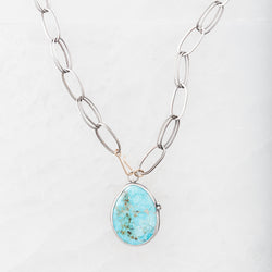 Moss Aquamarine Drop Necklace on Paperclip Chain