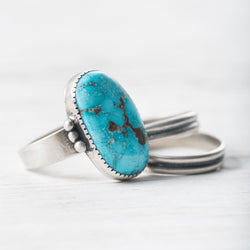 Chunky Grey Moonstone & Sterling Silver Ring