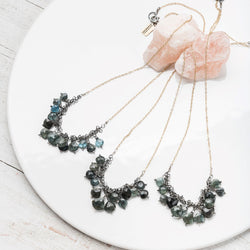 Moss Aquamarine and Sterling Silver Fringe Necklace