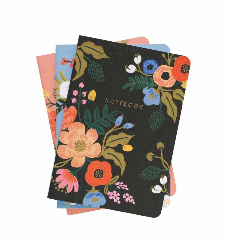 Lively Floral Stitched Notebooks -Set of 3 Assorted
