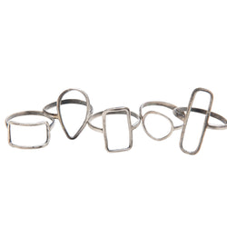 Sterling Silver Short Vertical Rectangle Ring