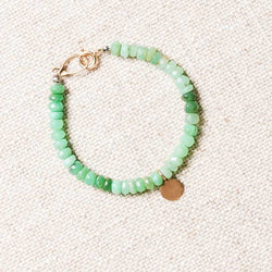 Chrysoprase and Yellow Bronze Charm Bracelet