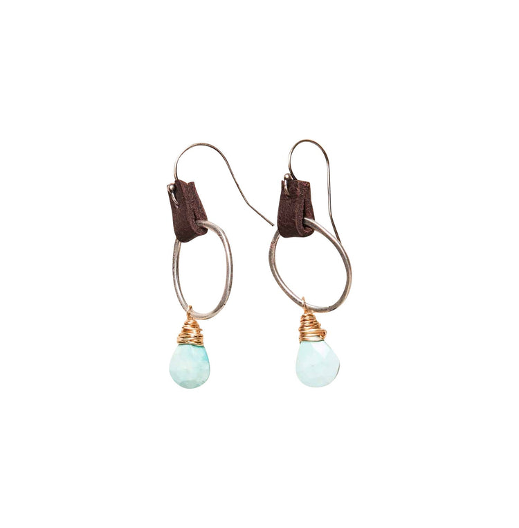 Sleeping beauty turquoise drop earrings with chocolate leather accent and sterling silver