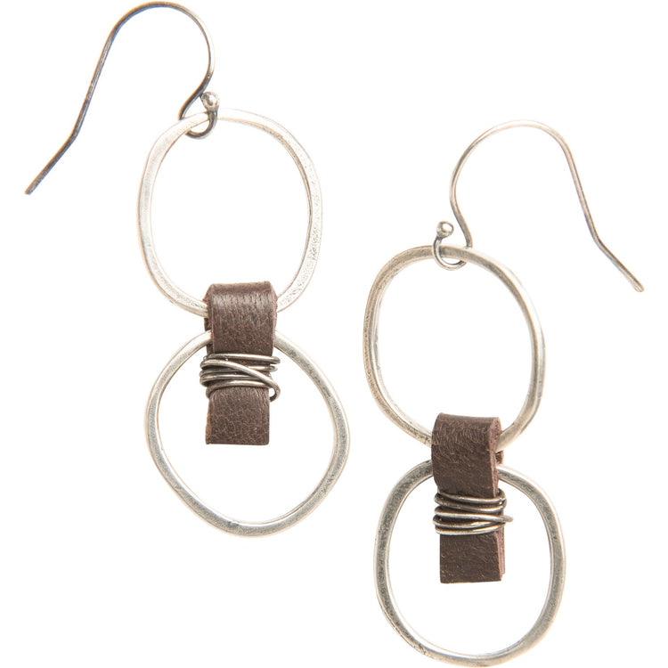 zzzzDouble Organic Sterling Silver Circle Earrings with Chocolate Leather Accent