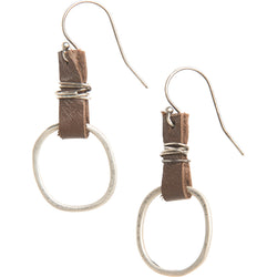 Karma Sterling Silver Earrings with Leather Accent