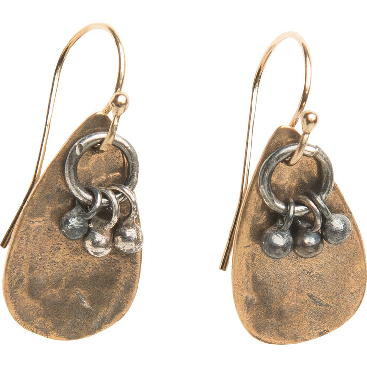 Yellow Bronze Teardrop Earrings with Silver Charms
