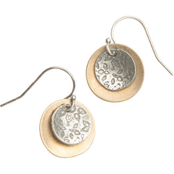 Yellow Bronze and Silver Disc Mixed Metal Earrings