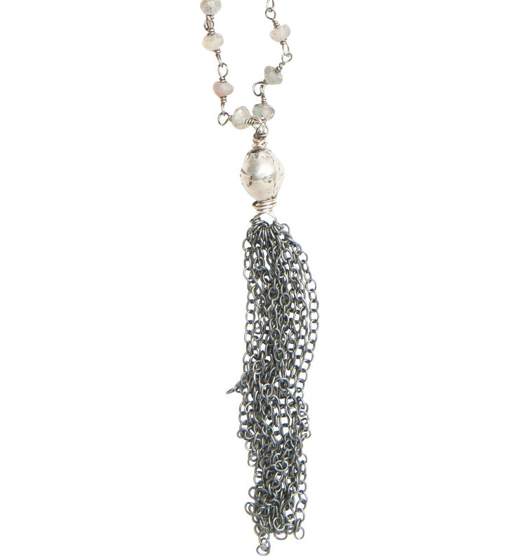 Labradorite and sterling silver tassel necklace