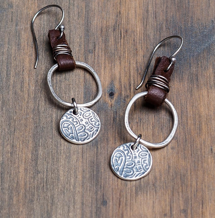 Round rustic paisley earrings with circle and leather accent