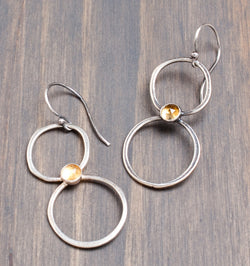 Karma Double Hoop Earrings in Citrine
