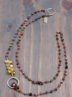 Tourmaline and green garnet long necklace