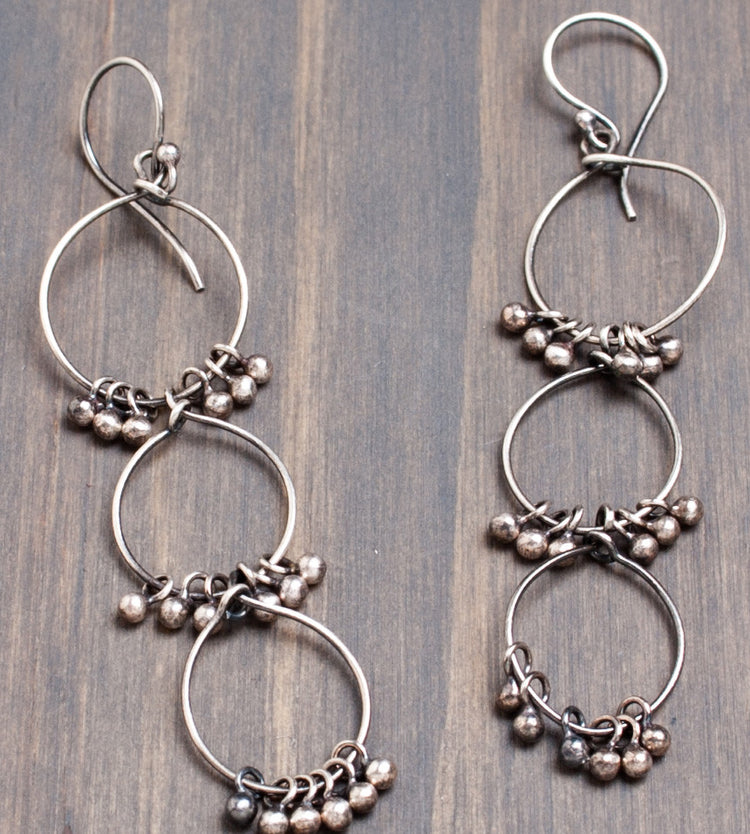 Triple bohemian hoop earrings