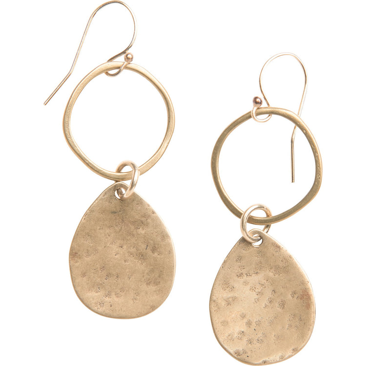 Yellow Bronze Hammered Teardrop Hoops