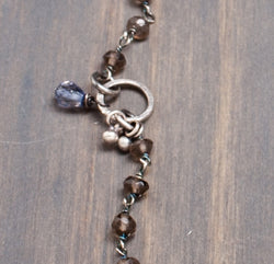 Lotus Pendant Necklace with Smoky Quartz, Iolite and Vasonite