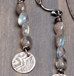 Lotus Labradorite Gemstone Drop Earrings