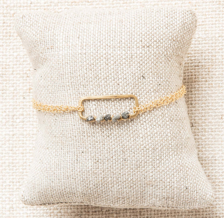 Raw diamond bracelet on gold chain