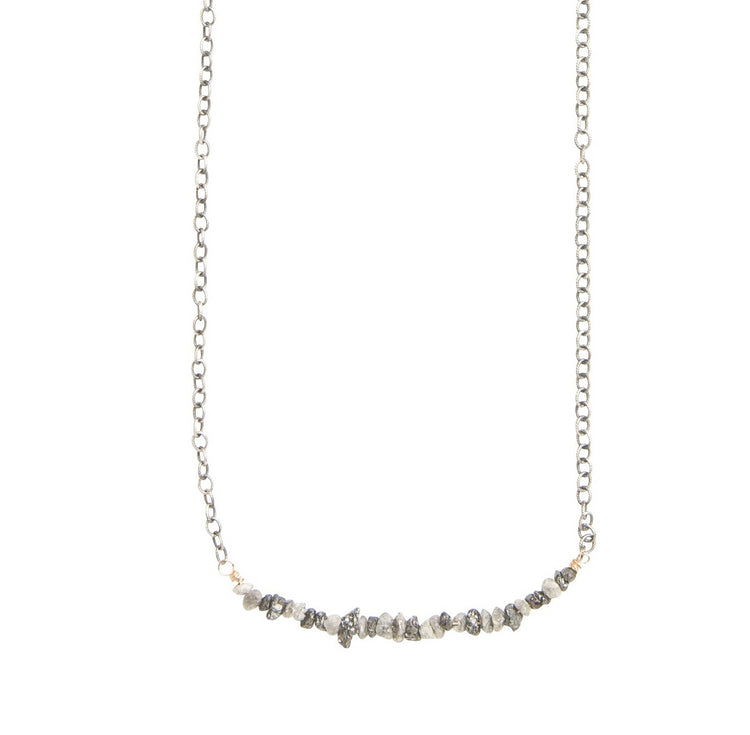 Raw Diamond Bar Necklace in Silver